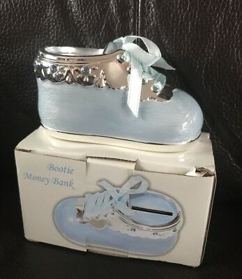 New Silver Plated Blue Baby Bootie Money Box For Boys