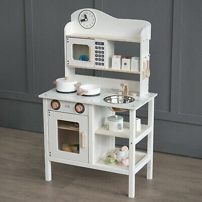 Kids Wooden Play Kitchen Cooker Role Play Childrens Pretend Toys & Utensil PK002