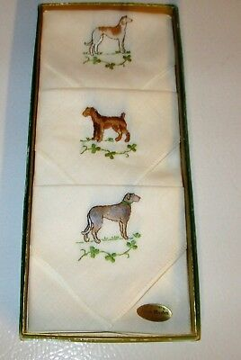 Vtg. 50s 60s Irish Linen Handkerchiefs in original box x 3 embroidered dogs