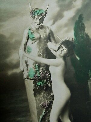 DEVIL - HALLOWEEN - Nude posing in front of the devil - RPPC early 1900