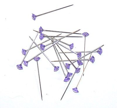 BOX OF 100 x 37mm PURPLE DIAMANTE PINS FOR CORSAGE'S, BUTTON HOLES ETC