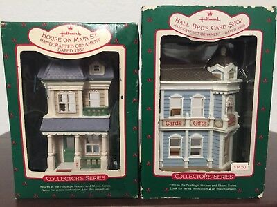 Vintage..1987-88 Hallmark Handcrafted Ornaments..lot Of 2..card Shop & House