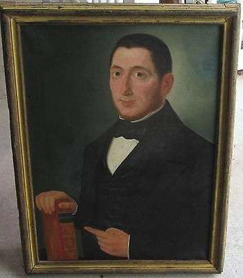 Early 19th century American folk art oil painting doctor possibly Ammi Phillips?