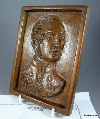 PRINCE ALBERT (Queen Victoria) Small Hand Carved Hard Wood Plaque