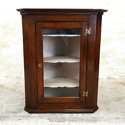 George III Glazed Oak Wall Hanging Corner Cabinet Late C18th (Georgian Antique)