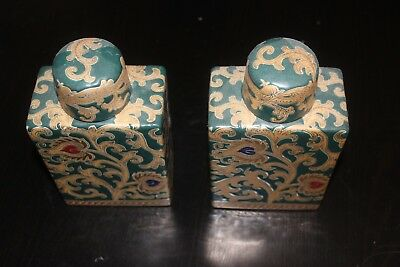 Chinese antique pair of Gold and green flasks