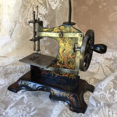 Old FRENCH Footed CAST IRON TOY HAND CRANK SEWING MACHINE Bird Cherry Xmas gift