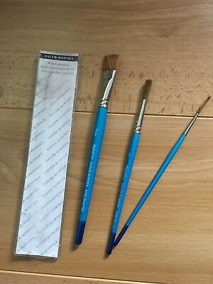 Set Of Three Daler Rowney Aquafine Paint Brushes Excellent Condition