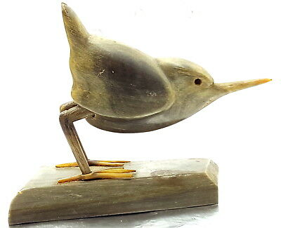 Antique Bull Horn carved bird ,English 19th century .
