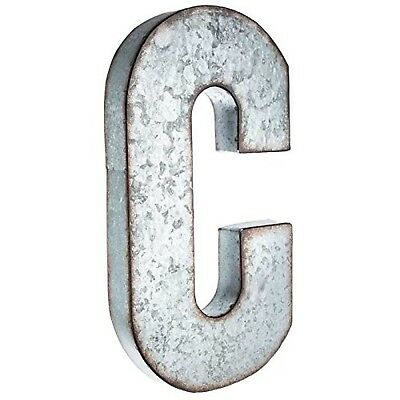 """Huge 20"""" Metal Alphabet Wall Décor Letter C Rusted Edge Galvanized Metal"""