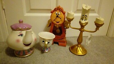 Rare Disney Parks Beauty & the Beast working Chip Mrs Potts Cogsworth Lumiere