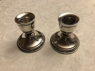 """Premier .999 Sterling Silver 3"""",  14.4oz Total Weighted Candle Stick Holders"""