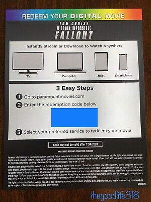 Mission Impossible Fallout UHD Digital Code From 4K Set
