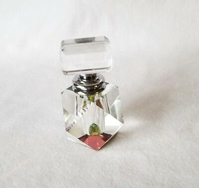 Mini Faceted Clear Crystal Glass Perfume Bottle with Screw Dabbler