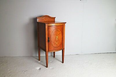 Antique Edwardian inlaid bedside cabinet / night stand