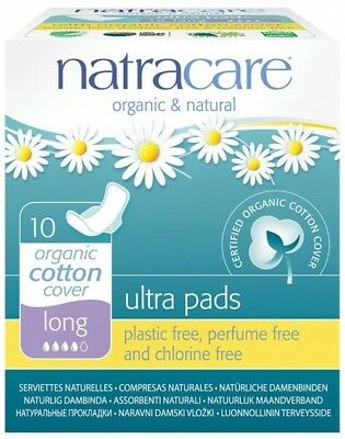 Natracare Ultra Pads Organic Cotton Cover Long 10 Pads