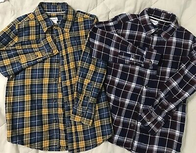 2 Carters Boys Plaid Shirts Button Down Match W/ Solids Or Jeans Size 5 Holiday
