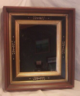 Antique victorian WALNUT frame/mirror 13 3/4 x 15 3/4 mirror 9 1/2 x 11 1/2