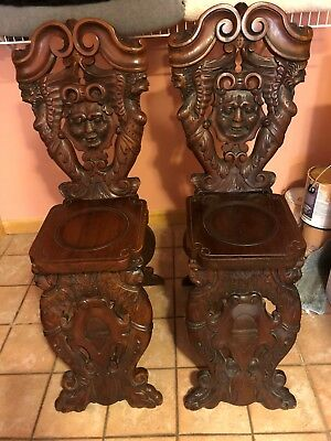 StunningGOTHICantique carved chairs -amazing details