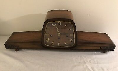 Vintage Hermle Mantel Clock Space Age Germany Chime Unique All-Wood Dial *LOOK*