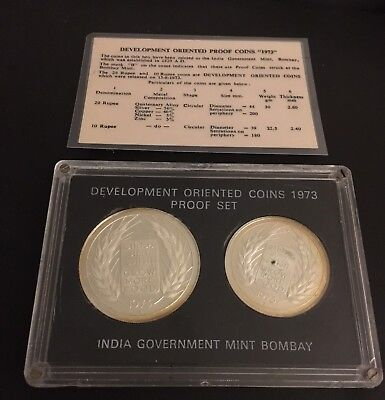 1973 Republic Of India   Development Oriented Coins   2 Coin Proof Set With COA