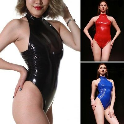 Women Latex Catsuit Halter Neck  ZipperCrotch Wet Look Leather Playsuit Jumpsuit