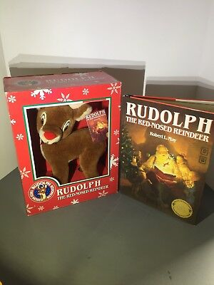 Rare Vintage Christmas Rudolph Reindeer Plush & Book Golden Anniversery Set