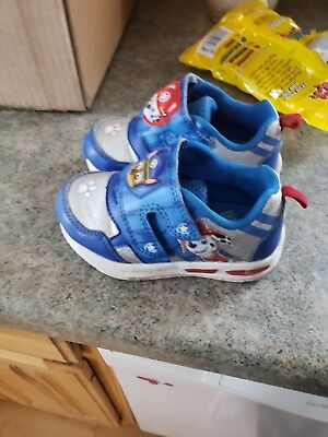 Paw Patrol Toddler Boys Light UP size 7 Shoes Slip on with Velcro Nickelodeon