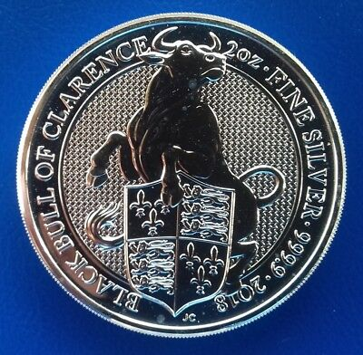 1 x 2 Oz 999,9er Silber GB The Queen's Beasts 2018 Black Bull of Clarence