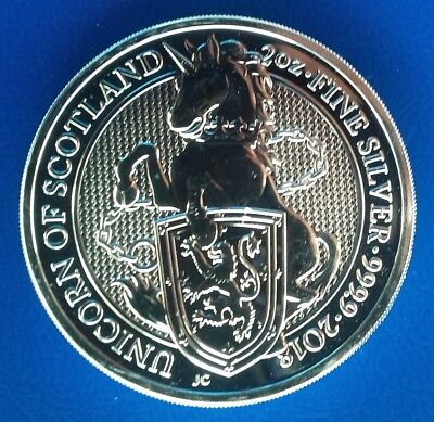 1 x 2 Oz 999,9er Silber GB The Queen's Beasts 2018 Unicorn of Scotland