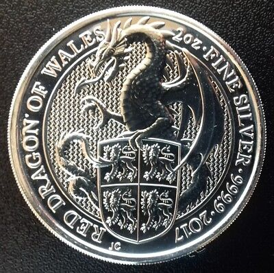 1 x 2 Oz 999,9er Silber GB The Queen's Beasts 2017 Red Dragon of Wales