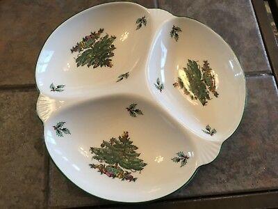 Spode Christmas Tree, England Three Section Divided Dish, Candy, Nuts, S3324 P