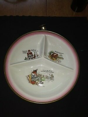 Rare germany  child warming bowl divided dish nursery rhymeironstone/porcelain