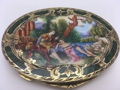 .800 Silver Italy Enamel Painted Miniature Scene Case Box Compact Gold Washed
