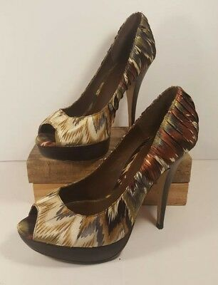 349d96386a5 Aldo Brown Print Fabric Classic Pumps Platform Stiletto Shoes Peep Toe 39  8.5