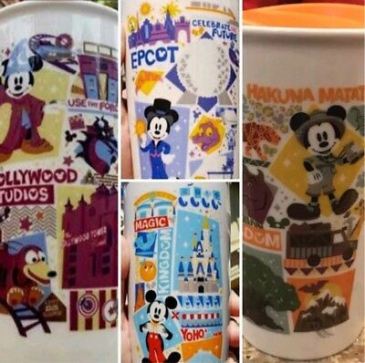 Starbucks Disney Parks 2018 Set Of Four Ceramic Mug Tumblers Epcot Magic Animal