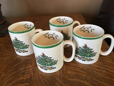 Spode Christmas Tree, England S3324, Coffe Cups, Mugs, Set of 4, New in Box