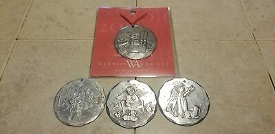 Set of 4 Wendell August Forge Aluminum Annual Christmas Ornaments