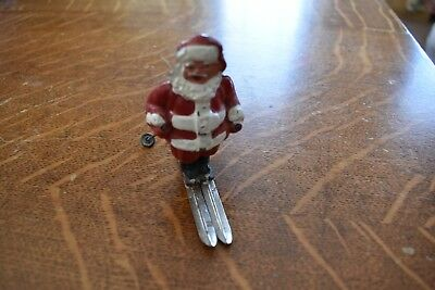 Nice Original Vintage 1940's Barclay Santa Claus On Skis Lead Figure,