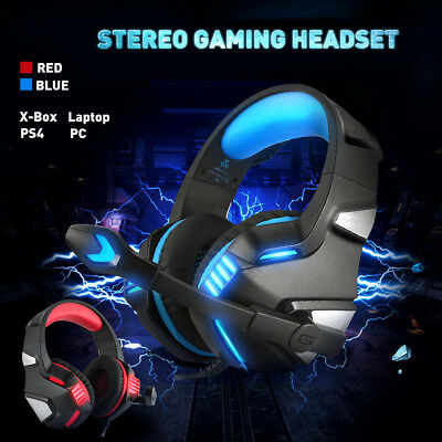 Stereo Bass Surround Over Ear Gaming Headphones Volume Control With Mic For PS4