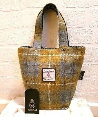 Harris Tweed Mini Tote Bag Mustard Blue Check Handbag Cotton Polka Dot Lining