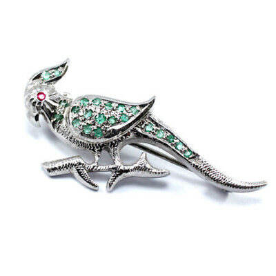 Solid 925 Sterling Silver Brooch Jewelry Parrot Shape,Natural Emerald Gemstone