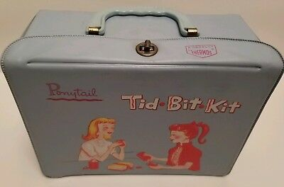 Vintage Ponytail Tid Bit Kit Lunch Pail Box 1959 Made by Thermos Company Blue