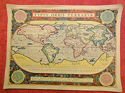 Map, antique world  reproduction, TYPUS ORBIS TERRARVM, 18X13 inches - unframed