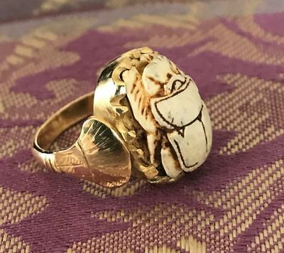 14K Gold Egyptian Scarab Ring with Hieroglyphics