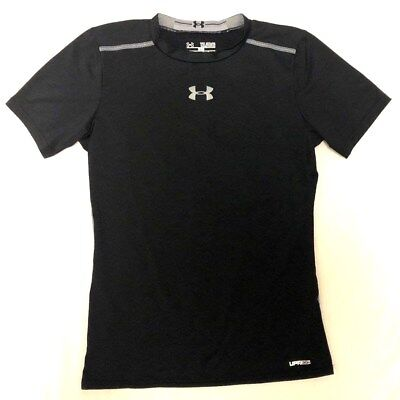 Boys Youth Xl (Yxl) Fitted Under Armour Heat Gear Sonic Upf 30+ S/s Black Shirt