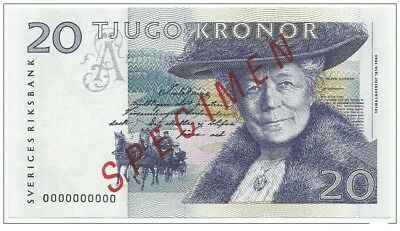Sweden 20 kronor 1991/95. UNC P-61 SPECIMEN ZERO NUMBERED
