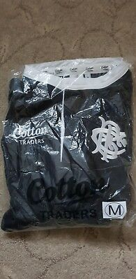 New Medium size Barbarians black & white Grandad collared shirt cotton traders