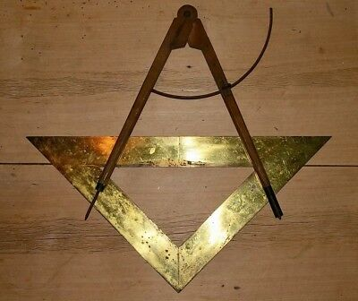 A Masons Set Square And Compass. Very High Quality And Heavy. Brass.