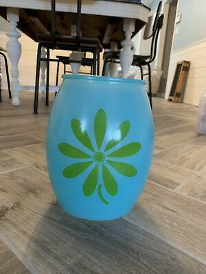 Vintage Bartlett Collins Turquoise Teal Cookie Jar Green Daisy